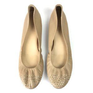 J. Crew Nude Leather Studded Ballet Flats Sz 10
